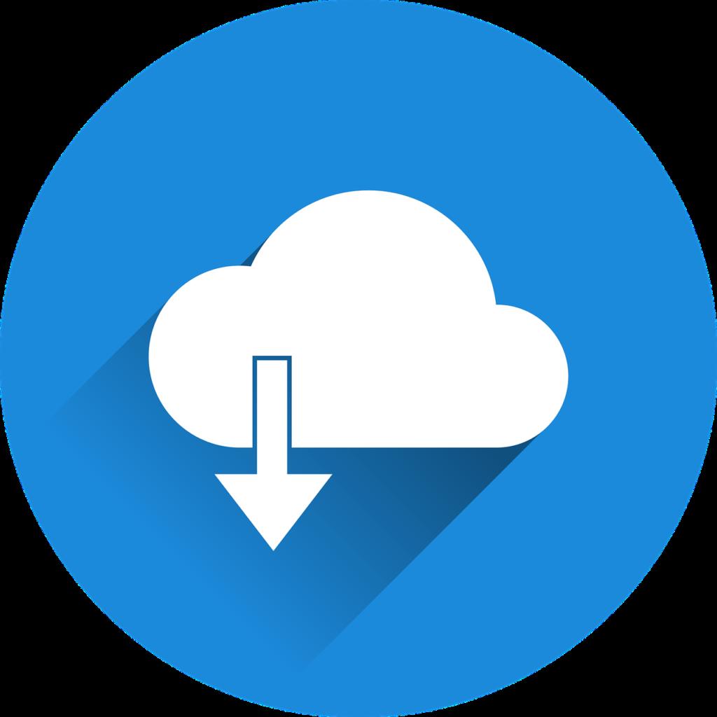 青い円の中にある白い雲から下向きの矢印が出ている