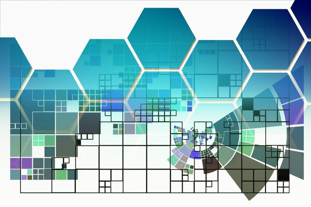 四角形や六角形で幾何学的な構築がなされている画像