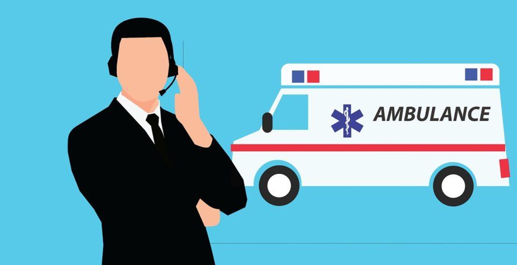 オペレーターと救急車のイラスト